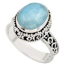5.18cts natural blue aquamarine 925 sterling silver ring jewelry size 8.5 r44230