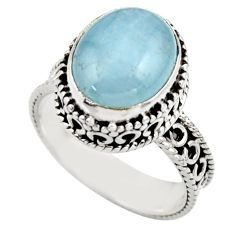 5.07cts natural blue aquamarine 925 sterling silver ring jewelry size 7.5 r44231