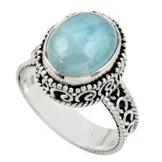 5.16cts natural blue aquamarine 925 sterling silver ring jewelry size 7.5 r44240