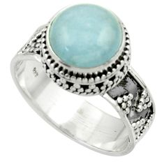 5.58cts natural blue aquamarine 925 sterling silver ring jewelry size 8 r44205