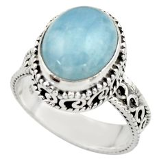 5.16cts natural blue aquamarine 925 sterling silver ring jewelry size 8 r44222