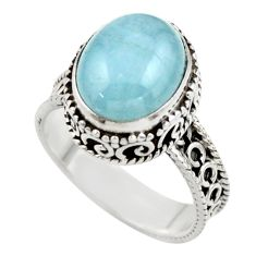 5.13cts natural blue aquamarine 925 sterling silver ring jewelry size 8 r44228