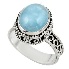 5.25cts natural blue aquamarine 925 sterling silver ring jewelry size 8 r44235
