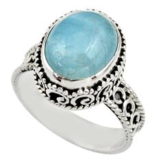 5.26cts natural blue aquamarine 925 sterling silver ring jewelry size 8 r44237