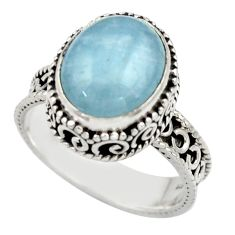 5.03cts natural blue aquamarine 925 sterling silver ring jewelry size 8 r44238