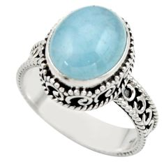 5.10cts natural blue aquamarine 925 sterling silver ring jewelry size 9 r44233