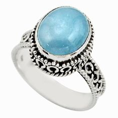 5.14cts natural blue aquamarine 925 sterling silver ring jewelry size 9 r44234
