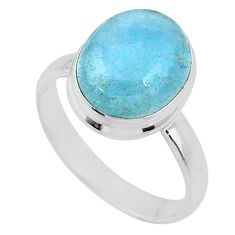 5.03cts natural blue aquamarine 925 sterling silver solitaire ring size 8 r64626