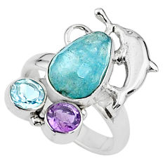 6.09cts natural blue aquamarine amethyst topaz 925 silver ring size 8 t16063
