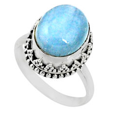 5.11cts natural blue aquamarine oval 925 silver solitaire ring size 8.5 r64698