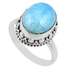 5.11cts natural blue aquamarine oval 925 silver solitaire ring size 7.5 r64709