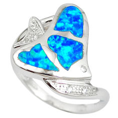 Natural blue australian opal (lab) 925 silver fish ring size 7.5 a61427 c15132