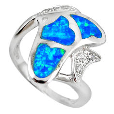 Natural blue australian opal (lab) 925 silver fish ring size 7 a61435 c15122