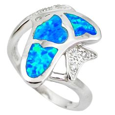 Natural blue australian opal (lab) 925 silver fish ring size 8 a61432 c15133