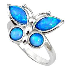 Natural blue australian opal (lab) silver butterfly ring size 8 a61463 c14965