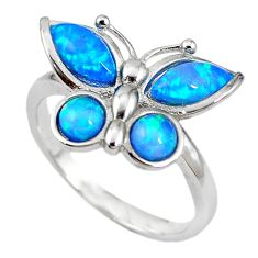 Natural blue australian opal (lab) silver butterfly ring size 9 a61465 c14972