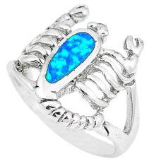 Natural blue australian opal (lab) silver scorpion ring size 6.5 a48809 c15137