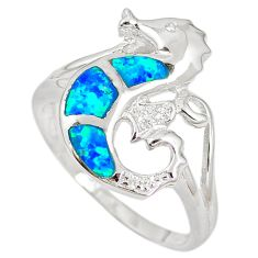 Natural blue australian opal (lab) 925 silver seahorse ring size 9.5 c15786