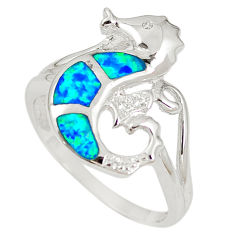 Natural blue australian opal (lab) 925 silver seahorse ring size 9.5 c15787