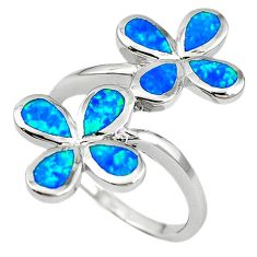 Natural blue australian opal (lab) sterling silver ring size 7.5 a61523 c14993