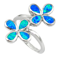 Natural blue australian opal (lab) sterling silver ring size 7.5 a61525 c15000
