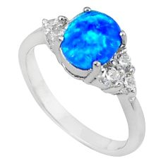 Natural blue australian opal (lab) topaz 925 sterling silver ring size 8 c15821