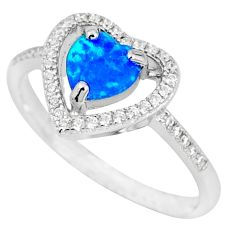 Natural blue australian opal (lab) white topaz 925 silver ring size 8 c15837