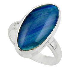 6.59cts natural blue australian opal triplet 925 silver ring size 7.5 r44884