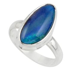 6.60cts natural blue australian opal triplet 925 silver ring size 8.5 r44888