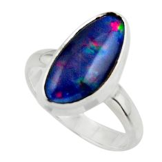 6.19cts natural blue australian opal triplet 925 silver ring size 8.5 r44896