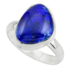 6.06cts natural blue australian opal triplet 925 silver ring size 7.5 r44898