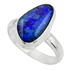 6.19cts natural blue australian opal triplet 925 silver ring size 8.5 r44900