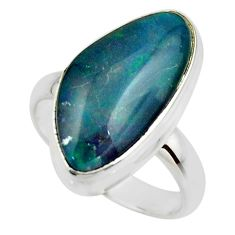 7.36cts natural blue australian opal triplet 925 silver ring size 7.5 r44901