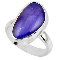 6.36cts natural blue australian opal triplet 925 silver ring size 6.5 r44906
