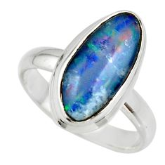6.28cts natural blue australian opal triplet 925 silver ring size 8.5 r44909