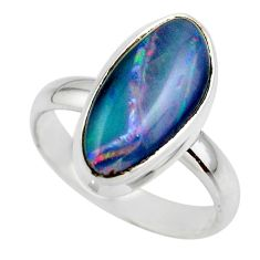 6.27cts natural blue australian opal triplet 925 silver ring size 8.5 r44912