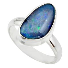 5.82cts natural blue australian opal triplet 925 silver ring size 8.5 r44915