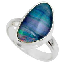 6.29cts natural blue australian opal triplet 925 silver ring size 7.5 r44918