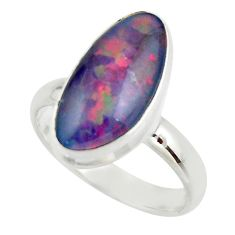 6.05cts natural blue australian opal triplet 925 silver ring size 8.5 r44988