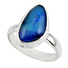 5.35cts natural blue australian opal triplet 925 silver ring size 8.5 r44992