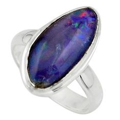 5.28cts natural blue australian opal triplet 925 silver ring size 6 r44893