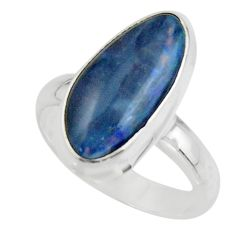 6.48cts natural blue australian opal triplet 925 silver ring size 7 r44881