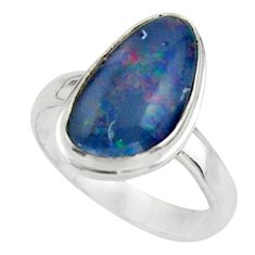 5.28cts natural blue australian opal triplet 925 silver ring size 7 r44885
