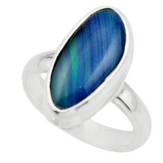 6.06cts natural blue australian opal triplet 925 silver ring size 7 r44886