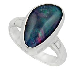 5.67cts natural blue australian opal triplet 925 silver ring size 7 r44889