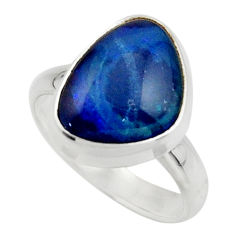 5.75cts natural blue australian opal triplet 925 silver ring size 7 r44892