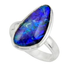 5.58cts natural blue australian opal triplet 925 silver ring size 7 r44899