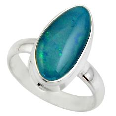 5.56cts natural blue australian opal triplet 925 silver ring size 7 r44990