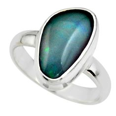 5.76cts natural blue australian opal triplet 925 silver ring size 8 r44904