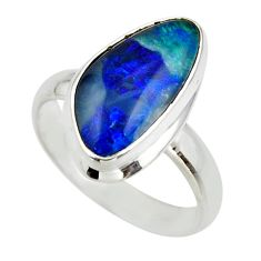 5.90cts natural blue australian opal triplet 925 silver ring size 8 r44913